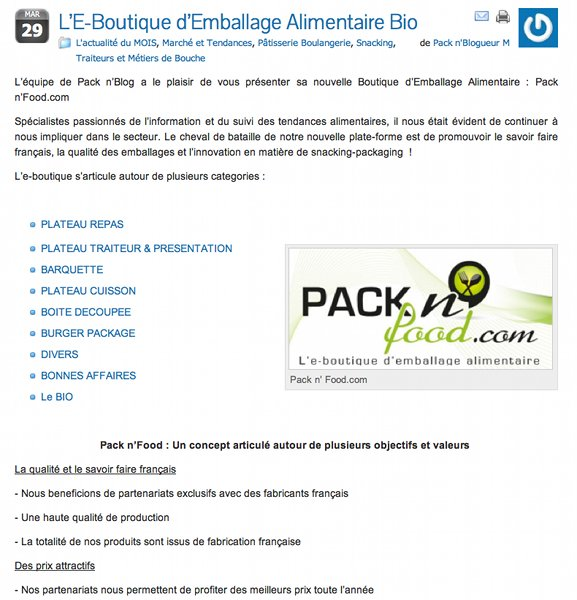 Capture d'écran de l'article sur Pack n' Blog